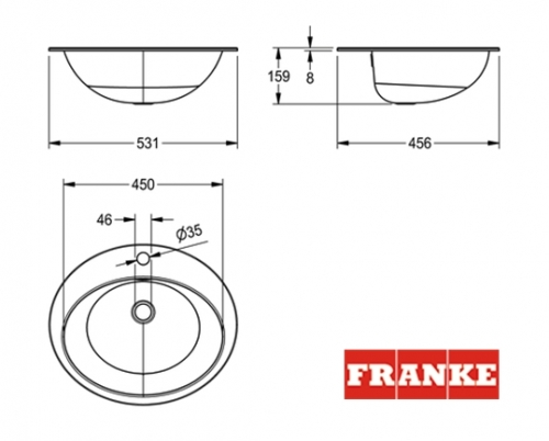 Empotrado franke rondo lavabo semiesferico inox for Medidas lavabo