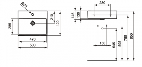 Sobre encimera ideal standard strada lavabo 50 for Medidas lavabo