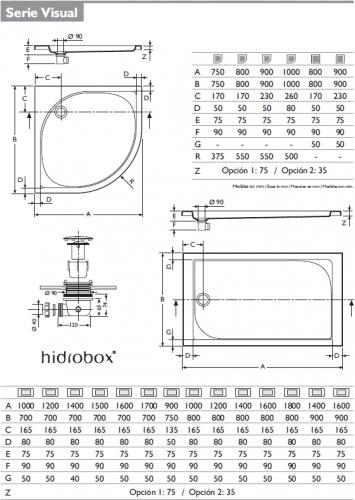 Platos de ducha hidrobox plato ducha visual - Medidas de los platos de ducha ...